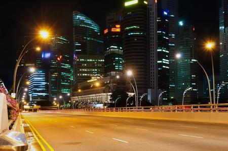 singapore city: City of Singapore at night