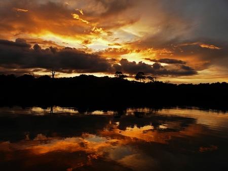 laguna: Sunset on Amazon river, Brazil Stock Photo