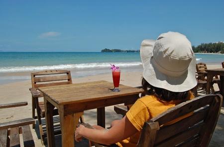 Fruity cocktail in beach café photo