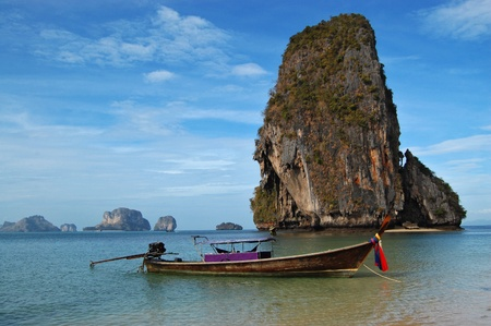 Longtail boat on tropical beach in Thailand Stock Photo - 9630782