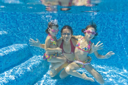 Underwater family in swimming pool photo