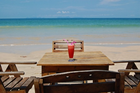 Fruity cocktail in beach photo