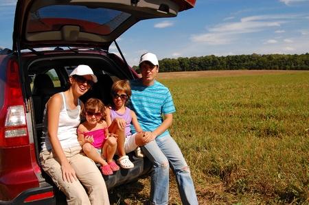 Familie Auto-Reise Standard-Bild