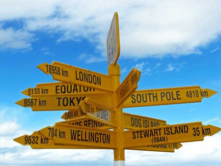 bluff: Sign in Stirling point, New Zealand Stock Photo