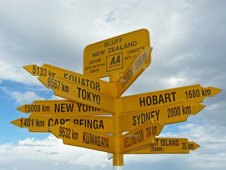 Sign in Stirling point, New Zealand photo