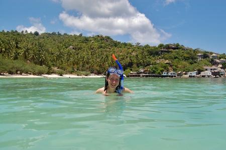 snorkelling: Woman snorkelling Stock Photo