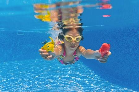 Happy smiling underwater child in swimming pool, beautiful girl swim