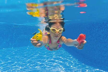 Happy smiling underwater child in swimming pool, beautiful girl swim