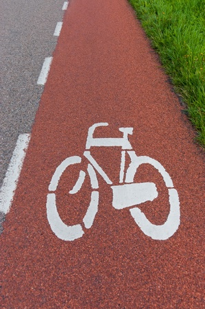 Bicycle sign on bicycle lane, vertical photo photo