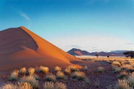 美しい夕焼け砂丘とナミブ砂漠、ソーサス フライ、ナミビア、南アフリカ共和国の自然