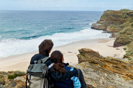 cape of good hope: Romantic couple looking at beautiful view of Cape of Good Hope and ocean  Honeymoon vacation in South Africa Stock Photo