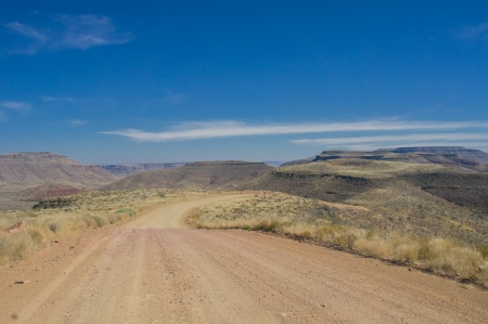 Road in mountains and desert landscape, South Africa Stock Photo - 16604771