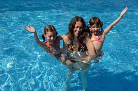 Happy family having fun in swimming pool on summer vacation, mother and kids photo