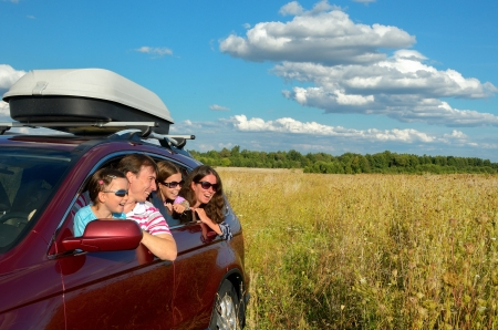 Family vacation, car trip on summer, happy parents travel with kids and having fun, car insurance concept 스톡 콘텐츠