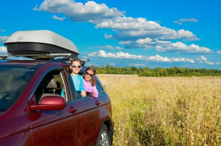 Family vacation, car trip on summer, kids travel and have fun, car insurance concept 写真素材