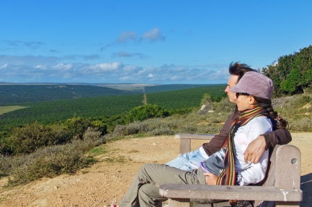 kruger national park: Happy couple looking at beautiful view of Kruger national park, travel in South Africa