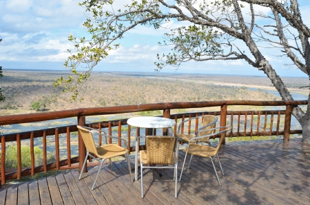 Beautiful river view from camping restaurant in Kruger national park, safari in South Africa photo