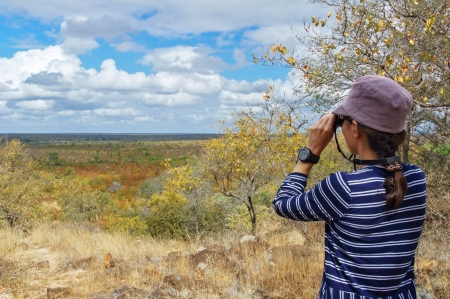 Safari in South Africa, woman tourist with binoculars looking at savannah Banque d'images