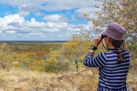 Safari in South Africa, woman tourist with binoculars looking at savannah Standard-Bild