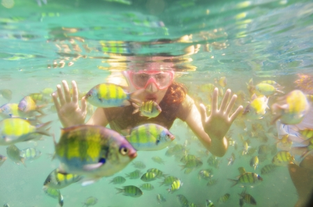Woman snorkeling underwater in sea and looking at fish