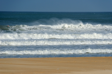 Beautiful ocean beach with waves in South Africa photo