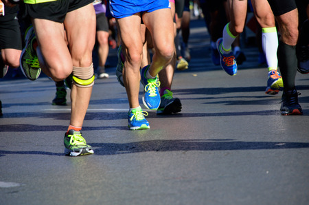 marathon running: Marathon running race, people feet on road, sport, fitness and healthy lifestyle concept