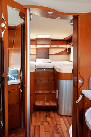 Camper  RV, motorhome, caravan  interior, vertical image