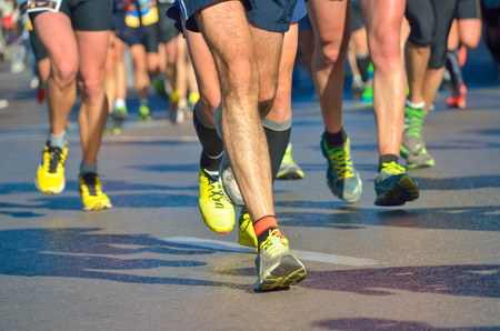 Marathon running race, people feet on road, sport, fitness and healthy lifestyle concept photo