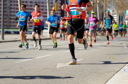 Marathon running race, runners feet on road, sport, fitness and healthy lifestyle concept 스톡 콘텐츠