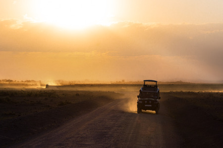 Sunset in african savannah, silhouettes of safari car and animals, Africa, Kenya, Amboseli national park