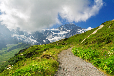 a meadow: Beautiful idyllic Alps landscape and trail, mountains in summer, Switzerland Stock Photo