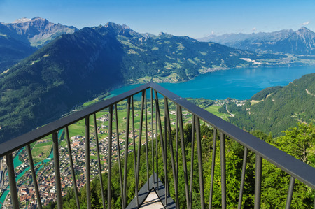 lookout: Observation deck on lookout, viewpoint in Alps mountains, Switzerland