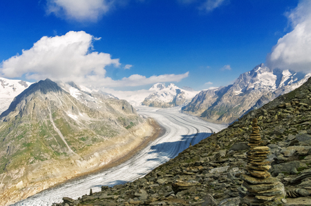 aletsch: Aletsch glacier in Alps, summer in mountains, Switzerland Stock Photo