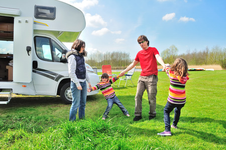 Family vacation, RV (camper) travel with kids, happy parents with children on holiday trip in motorhome Reklamní fotografie - 71160136
