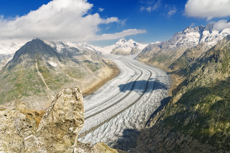 Aletsch glacier in Alps, summer in mountains, Switzerland Stock Photo
