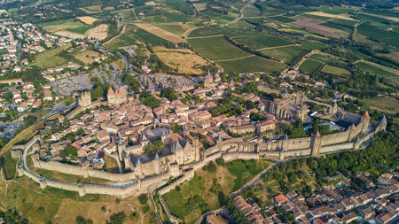 Aerial top view of Carcassonne medieval city and fortress castle from above, Sourthern France Standard-Bild