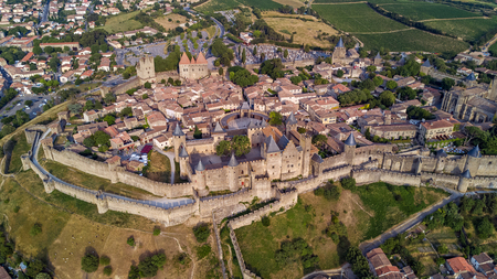 Aerial top view of Carcassonne medieval city and fortress castle from above, Sourthern France 写真素材