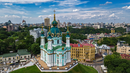 Aerial top view of Saint Andrews church from above, Podol district, city of Kiev (Kyiv), Ukraine Editorial