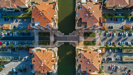 Aerial view of modern residential district and houses from above, real estate concept