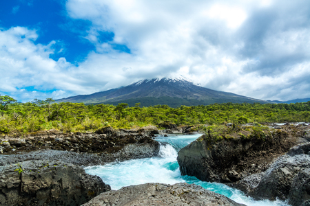 Osorno volcano view from Petrohue waterfall, beautiful Los Lagos landscape, Chile, South America