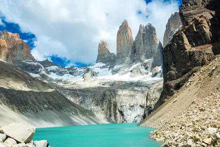 Beautiful mountain lake in national park Torres del Paine, landscape of Patagonia, Chile, South America Stock Photo