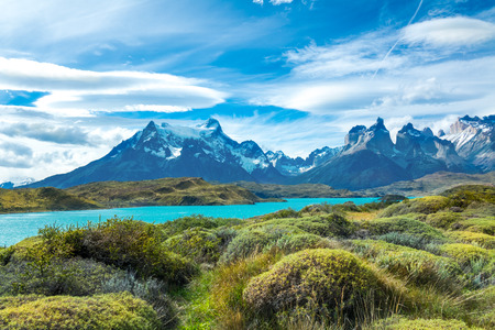 Pehoe lake and Guernos mountains beautiful landscape, national park Torres del Paine, Patagonia, Chile, South America Reklamní fotografie