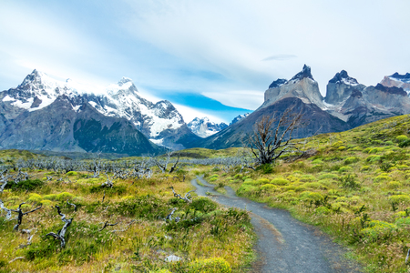 National park Torres del Paine mountains and road landscape, Patagonia, Chile, South America