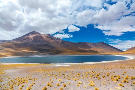 Atacama Altiplana desert, Laguna Miscanti salt lake and mountains landscape, Miniques, Chile, South America