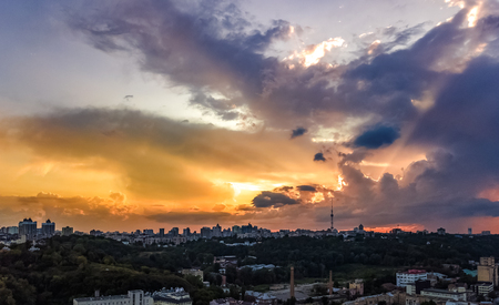 Aerial top view of Kiev city cityscape on sunset, Kyiv, Ukraine