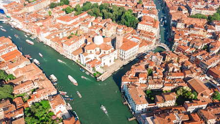 Aerial top view of Venice city Grand Canal, island cityscape and Venetian lagoon from above, Italy
