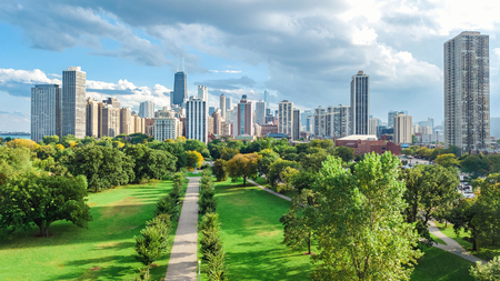 Chicago skyline aerial drone view from above, lake Michigan and city of Chicago downtown skyscrapers cityscape from Lincoln park, Illinois, USA Reklamní fotografie