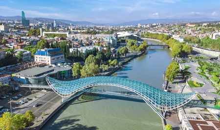 Tbilisi skyline aerial drone view from above, Kura river and old town of Tbilisi cityscape, Georgia Redakční