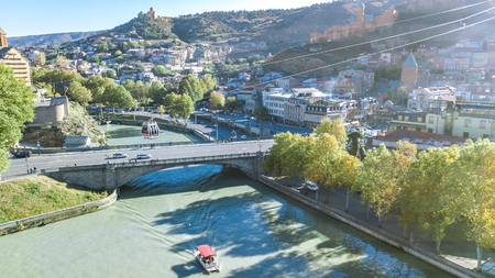 Tbilisi skyline aerial drone view from above, Kura river and old town of Tbilisi cityscape, Georgia Reklamní fotografie