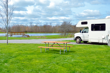 RV camper in camping, family vacation travel, holiday trip in motorhome caravan